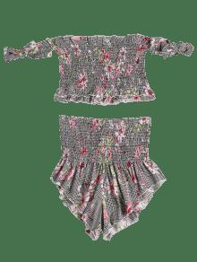 Pantal Con Corto Floral Y De Estampado Pata Gallo Multicolor Parte Superior 243;n S De SZ8nWXc8Eq