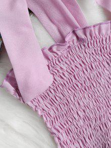 Color Camiseta De Tie S Smocked Mangas Shoulders Sin Malva wUOXqvE