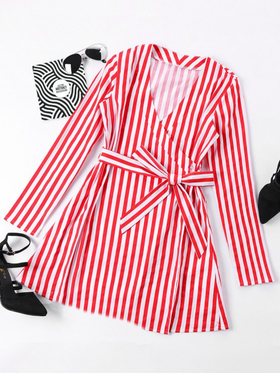 hot Mini Striped Surplice Dress - RED M