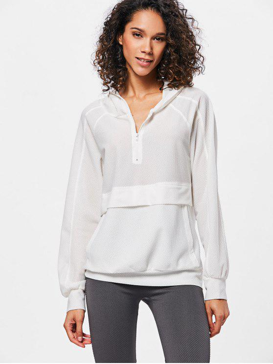 unique Half Zip Mesh Hoodie - WHITE L