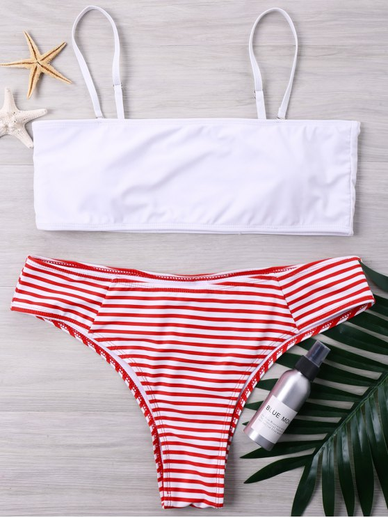 sale Plus Size High Cut Striped Bikini Set - WHITE 4XL