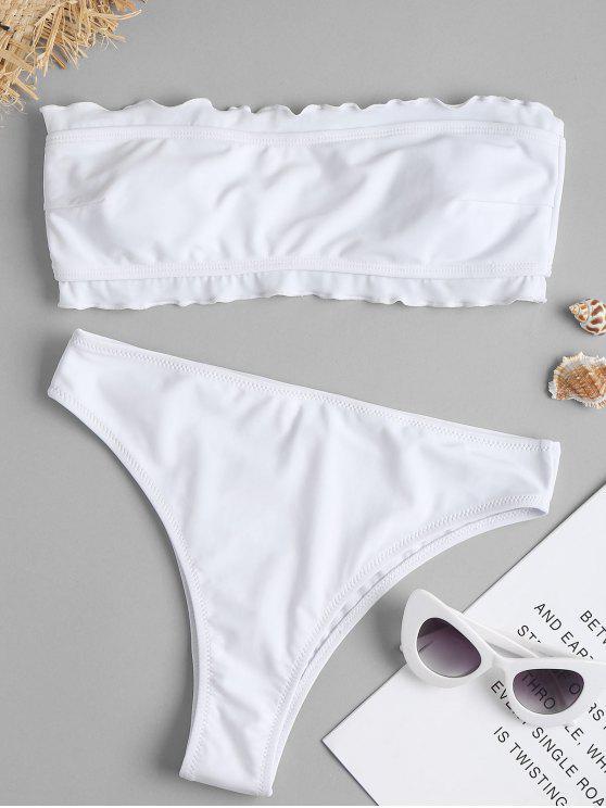 Bikini bandeau de corte alto con volantes de pierna - Blanco L