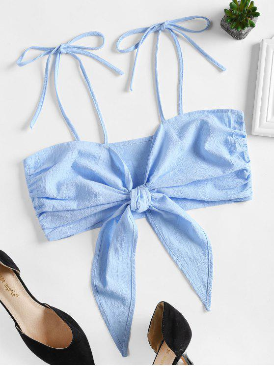 outfits Tie Front Cami Crop Top - LIGHT BLUE L