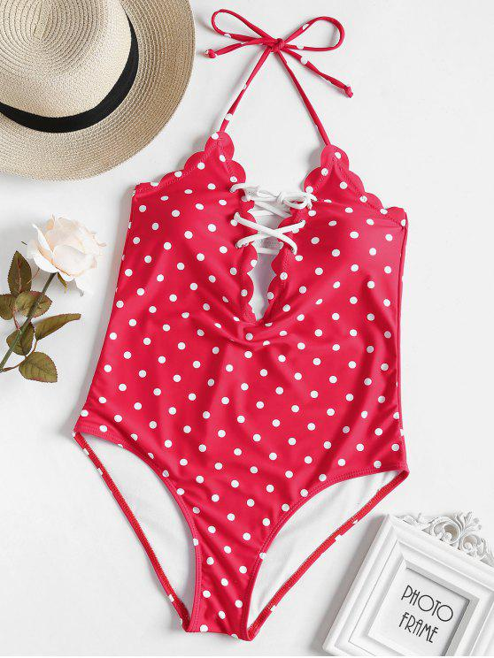 outfits Scalloped Lace-up Polka Dot Swimsuit - RED S