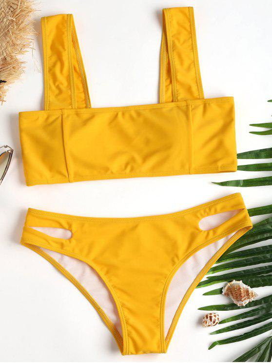 Bikini A Taglio Alto Con Colletto Quadrato - Senape L