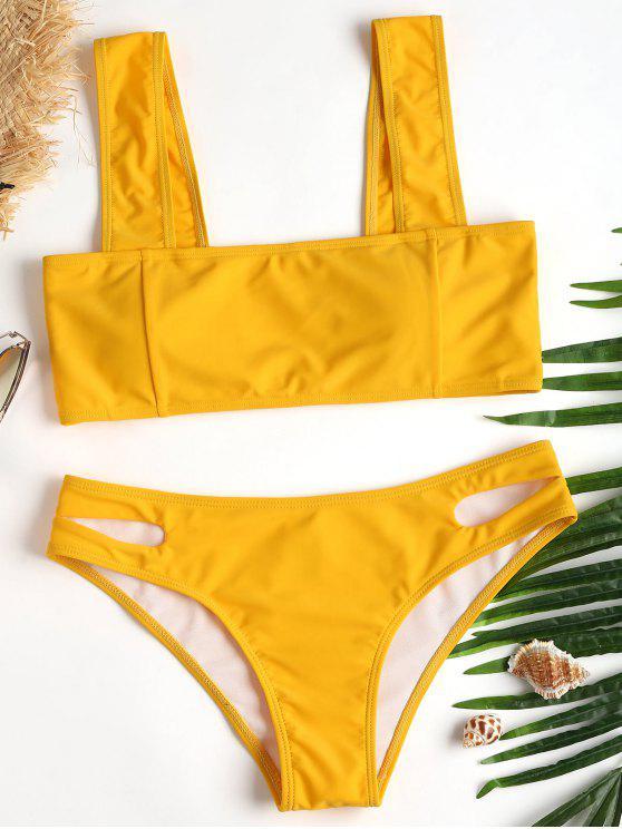 latest Square Collar High Cut Bikini - MUSTARD L