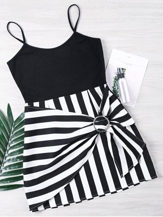 فستان حزام السباغيتي مخطط - متعدد L