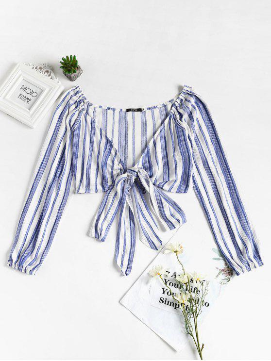 womens Tie Front Striped Top - BLUE S