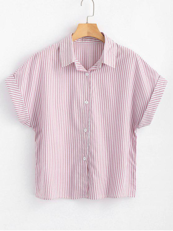b1d97928746d 29% OFF] 2019 Button Down Stripes Shirt In LIGHT PINK | ZAFUL