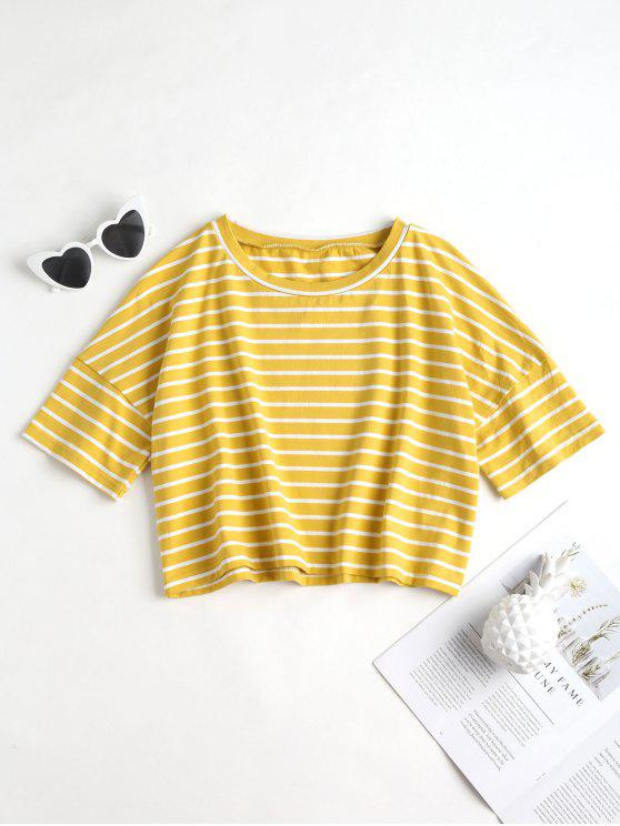 unique Cropped Stripe Top - YELLOW S