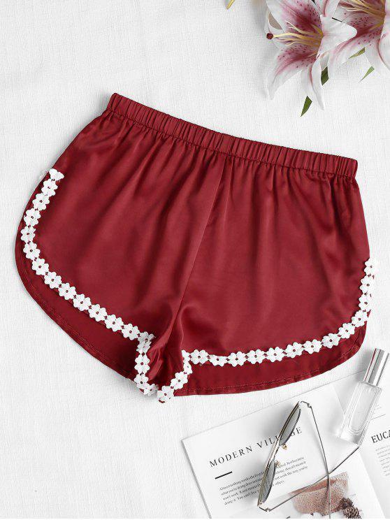 Pantaloncini In Pizzo A Fessura Alta - Vino Rosso S