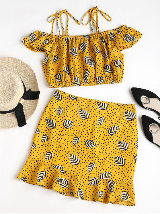 women Dotted Leaves Print Cami Skirt Set - RUBBER DUCKY YELLOW L