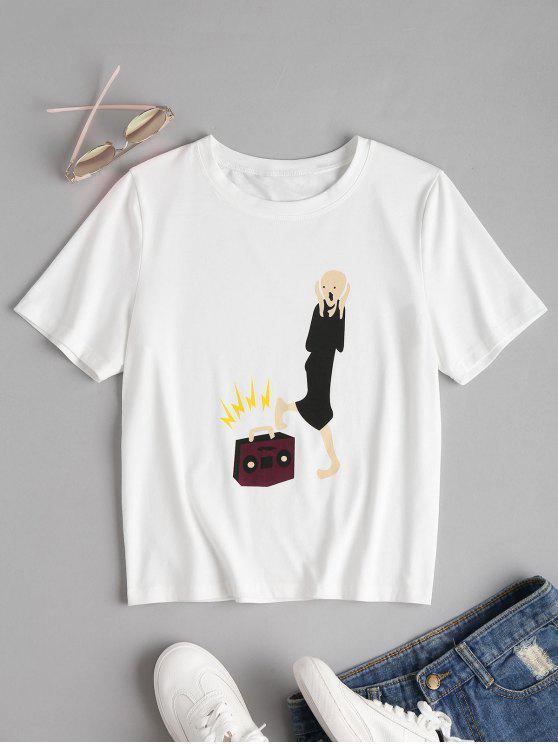 Camiseta estampada de manga corta - Blanco M