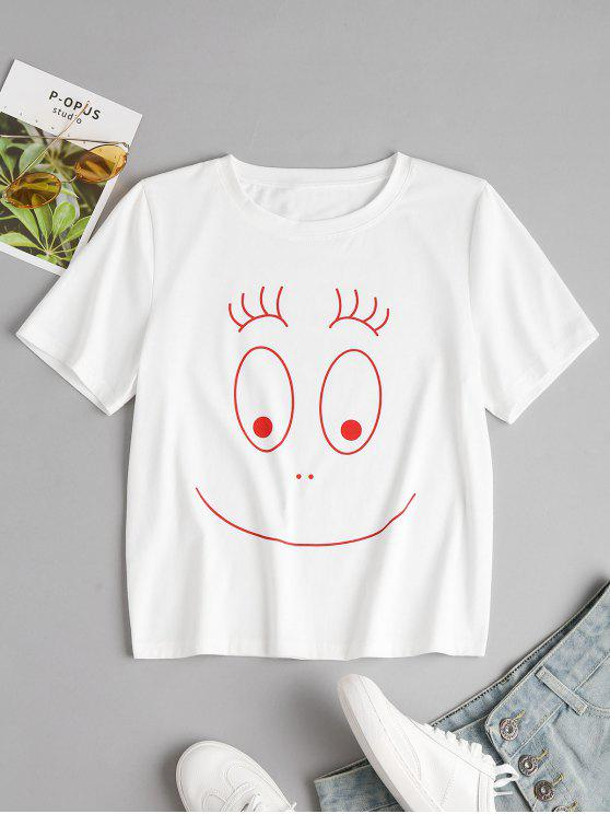 outfits Round Neck Graphic Tee - WHITE S