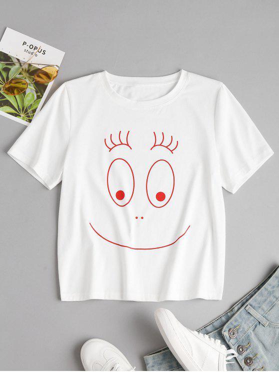 T-Shirt Grafica Con Collo Rotondo - Bianca S