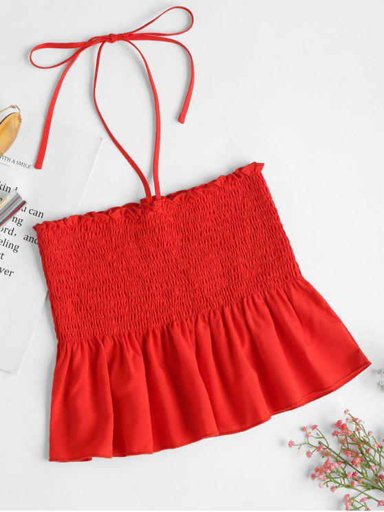 Rüschen Smocked Tube Top - Liebes Rot L