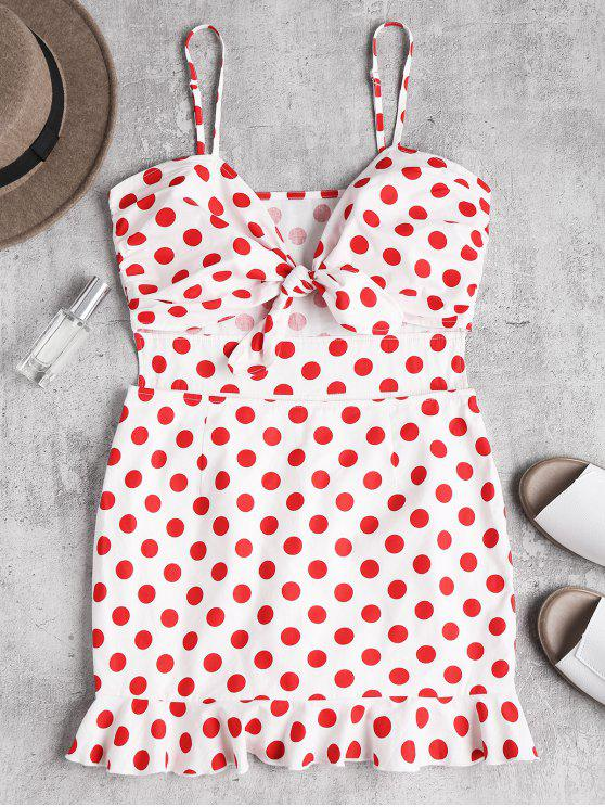 outfit Polka Dot Knotted Ruffle Bodycon Dress - LOVE RED S