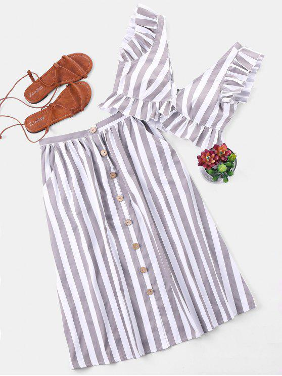 outfits Striped Crop Top and Skirt Set - GRAY M