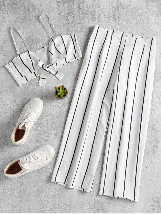 affordable Stripe Crop Top and Culottes Matching Set - WHITE M