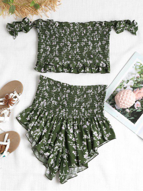 Conjunto de duas peças Floral Smocked - Verde Médio da Floresta L