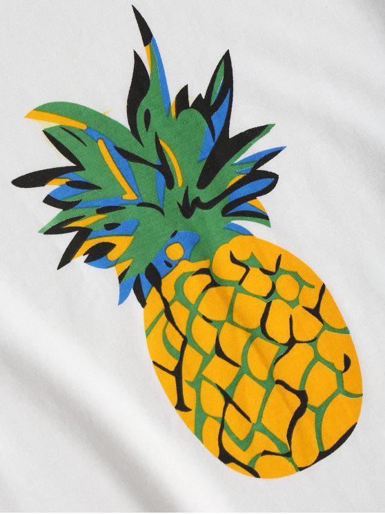 Print Pineapple White Short Tee S Sleeve w1vnRqExa