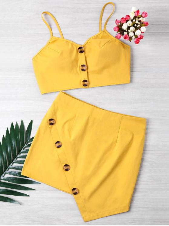 hot Buttoned Crop Top And Mini Skirt Set - YELLOW L