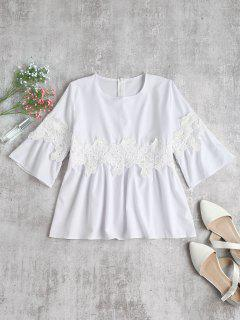 Crochet Patch Smock Top - White Xl