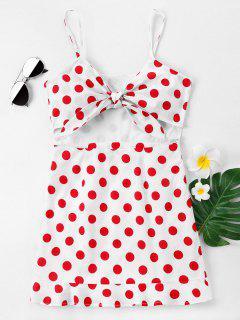 Front Bow Polka Dot Cami Dress - White L