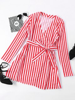 Mini Striped Surplice Dress - Red S