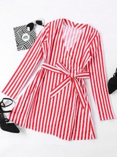 Mini Striped Surplice Dress - Red M