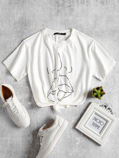Grafisches Jersey-BaumwollT-Stück Küssen - Weiß S