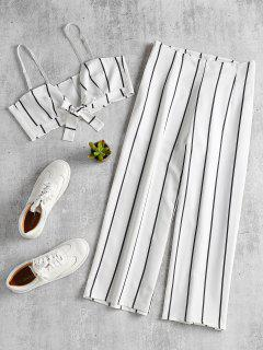 Striped Crop Top And Culottes Matching Set - White S