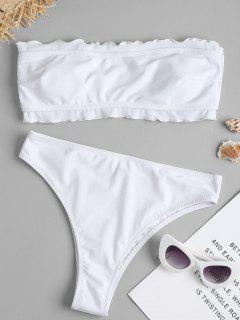 Haut De Bikini Bandeau à Bordures Froncées - Blanc S