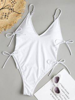Seitlicher Riemchen Hohe Schlitz Badeanzug - Weiß S