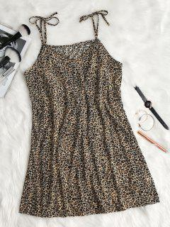 Tie Strap Leopard Print Slip Dress - Coffee M