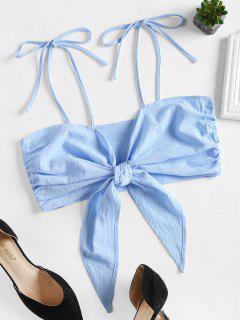 Tie Front Cami Crop Top - Light Blue L
