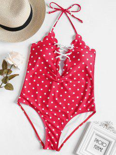 Scalloped Lace-up Polka Dot Swimsuit - Red S