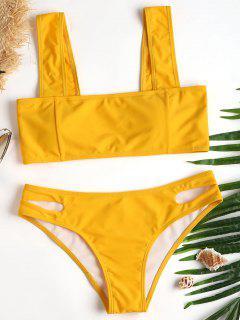 Bikini De Corte Alto Y Cuello Cuadrado - Mostaza L