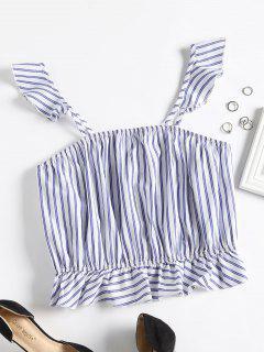 Camiseta Sin Mangas Cuadrada Con Rayas - Azul Marino S