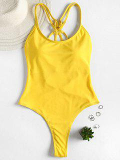 Strappy Thong Swimsuit - Yellow M