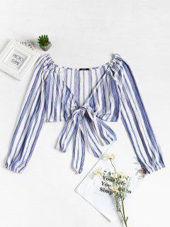 Tie Front Striped Top - Blue S