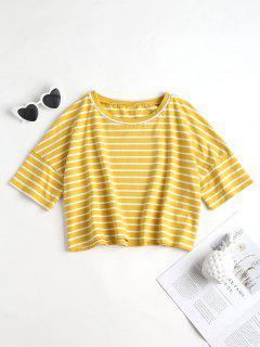 Cropped Stripe Top - Yellow M