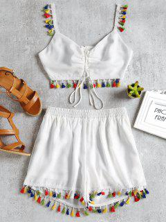 Lace Up Tassels Cami Suit - White L