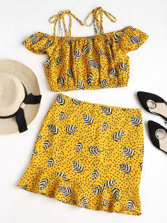 Dotted Leaves Print Cami Skirt Set - Rubber Ducky Yellow M