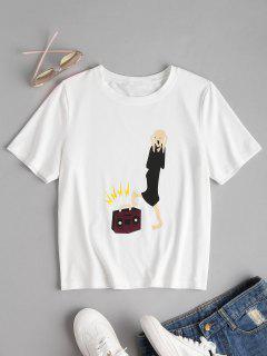 Grafisches Kurzarm T-Shirt - Weiß L