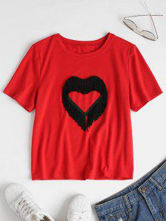 Fringed Heart Tee - Love Red L