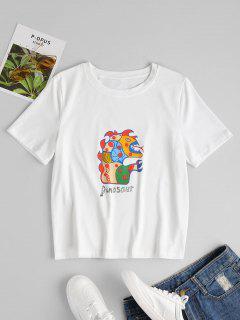 Dinosaur Letter Print Tee - White L