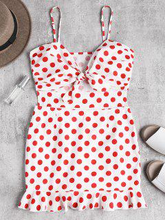 Polka Dot Knotted Ruffle Bodycon Dress - Love Red S