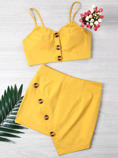 Buttoned Crop Top And Mini Skirt Set - Yellow S