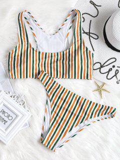 Farbriger Streifen Hohe Schlitz Bikini Set - Helles Gelb L